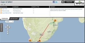 Virtual Itineraries with route planning